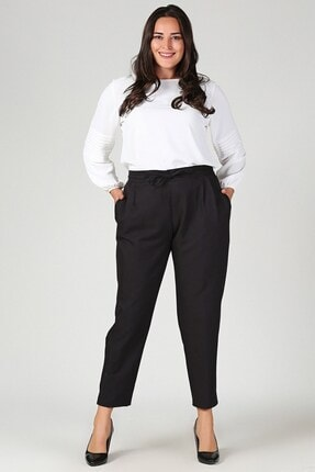 Womenice Kadın Siyah Büyük Beden Siyah Beli Lastikli Havuç Pantolon 1