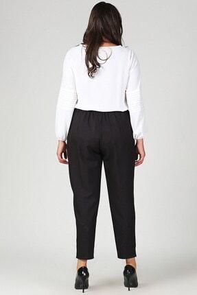 Womenice Kadın Siyah Büyük Beden Siyah Beli Lastikli Havuç Pantolon 2