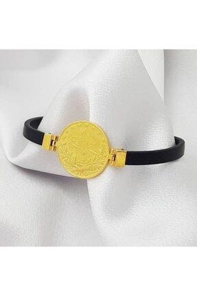 altınplaza Reşat Tuğra Baskılı Deri Kordonlu Altın Bileklik 1