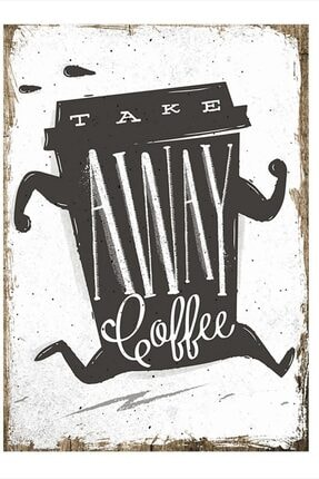 Tablomega Take Away Coffee Tasarım Ahşap Tablo 50cm X 70cm 0