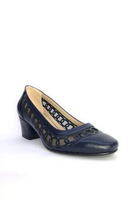 Büşra Sultan Ayakkabı Lazerli Fileli Topuklu Ayakkabı Lacivert 1