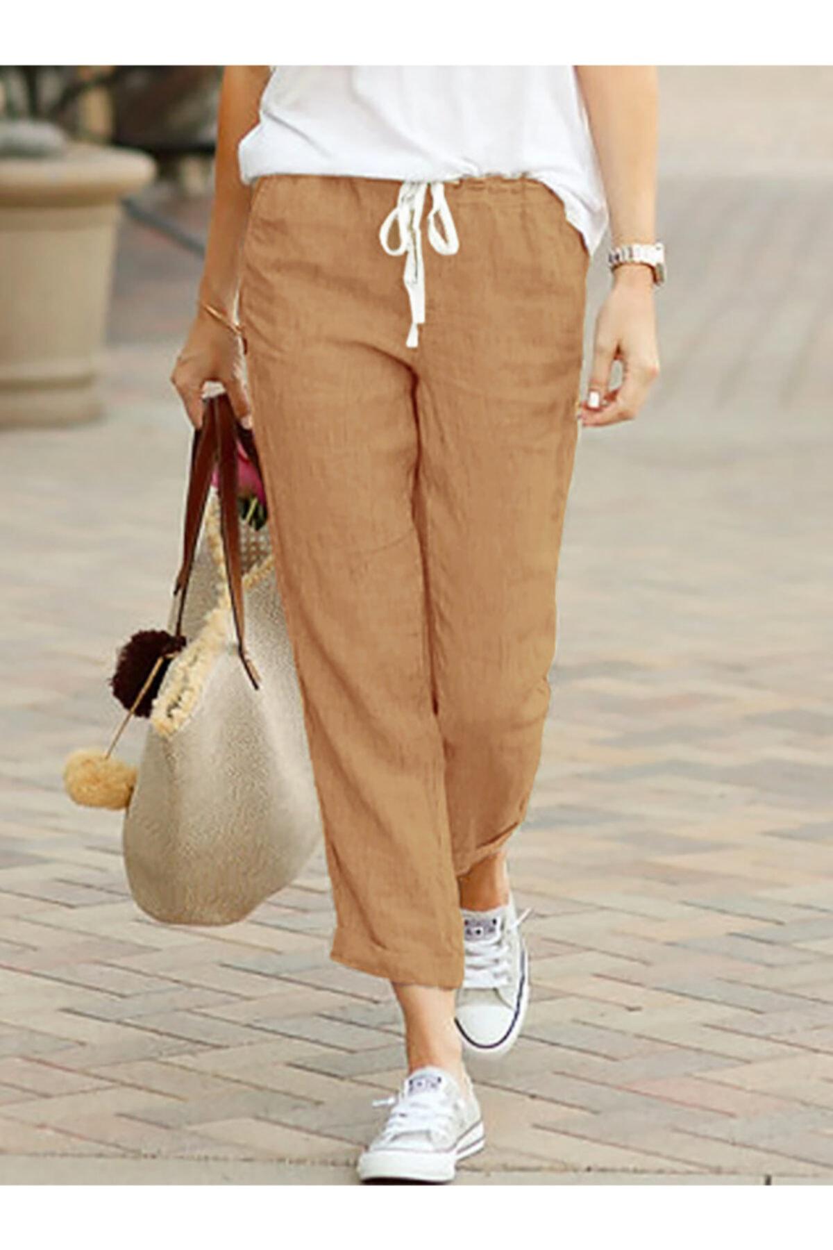 Kadın Karamel Yazlık Pantolon