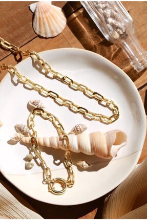 Linya Jewellery Kadın Altın Kilitli Zincir Bileklik 0