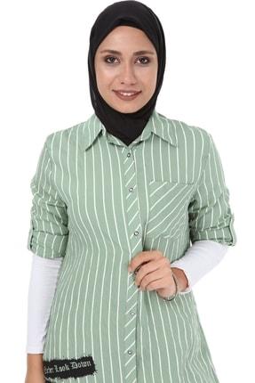 heradise Kadın Çağla Yeşili Uzun Çizgili Tunik - 5136 1