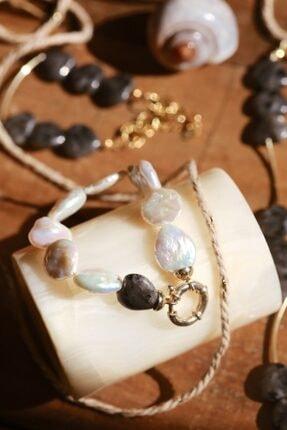 Linya Jewellery Kadın Altın Kalpli Onıx  Inci Bileklik 0