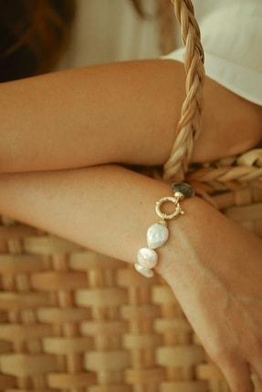 Linya Jewellery Kadın Altın Kalpli Onıx  Inci Bileklik 2