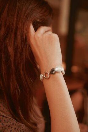 Linya Jewellery Kadın Altın Kalpli Onıx  Inci Bileklik 3