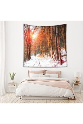 Henge Home Sonbahar Kış Orman Ağaç Manzaralı Duvar Perdesi - Duvar Örtüsü 1