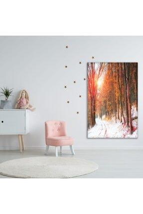 Henge Home Sonbahar Kış Orman Ağaç Manzaralı Duvar Perdesi - Duvar Örtüsü 2