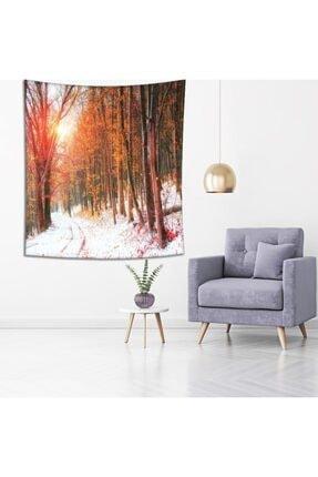 Henge Home Sonbahar Kış Orman Ağaç Manzaralı Duvar Perdesi - Duvar Örtüsü 3