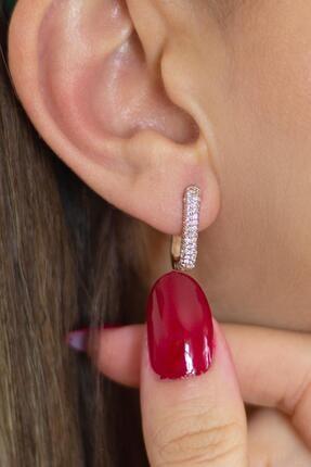 By Barun Silver Beyaz Taşlı Dikdörtgen Modeli Gümüş Halka Küpe -rose 1