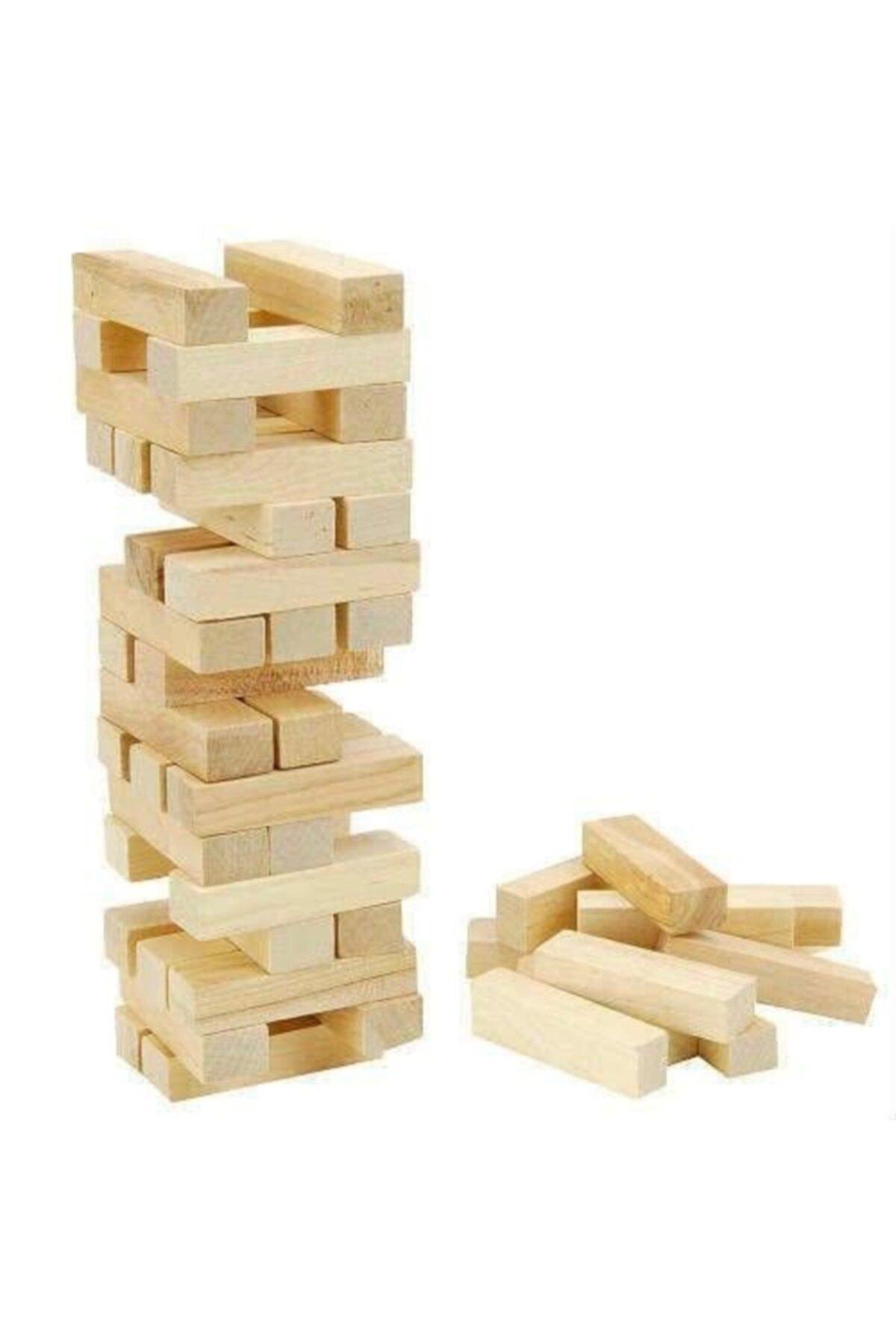 Jenga Büyük Boy Doğal Denge Oyunu Kule Oyunu 54 Parça