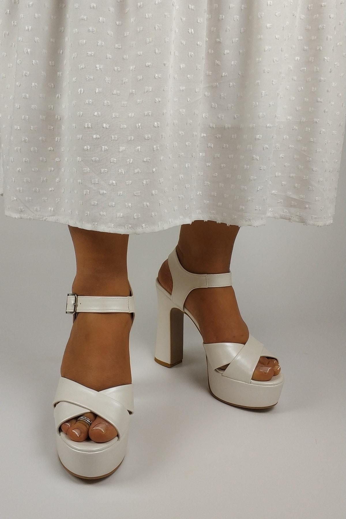 CL CALZATURE Kadın Sedef Kalın Topuk Platformlu Kadın  Ayakkabı
