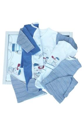 Bebitof Erkek Mavi Beyaz Denizci 10'lu Zıbın Seti Hastane Çıkışı 1