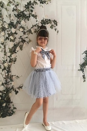 MARCHİO&MİO Kız Çocuk Mavi Etek Buluz Takım 1