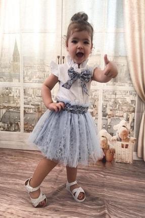 MARCHİO&MİO Kız Çocuk Mavi Etek Buluz Takım 3
