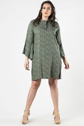 Womenice Kadın Haki Büyük Beden  Çiçek Desenli Yaka Bağlamalı Elbise 2