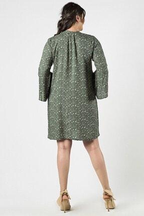 Womenice Kadın Haki Büyük Beden  Çiçek Desenli Yaka Bağlamalı Elbise 3