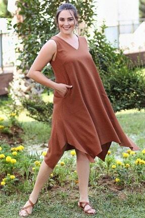 Womenice Kadın KiremitBüyük Beden  V Yaka Mendil Elbise 0