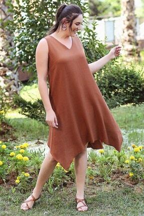 Womenice Kadın KiremitBüyük Beden  V Yaka Mendil Elbise 2