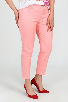 Womenice Kadın Pembe Büyük Beden 5 Cep Pantolon 1
