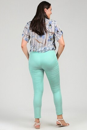 Womenice Kadın Turkuaz Büyük Beden Beli Lastikli Cepsiz Pantolon 3