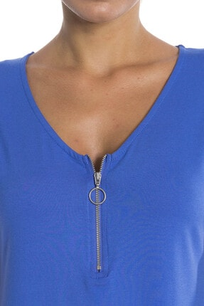 CBF DESIGN Kadın Mavi Fermuar Detay Tshırt 1