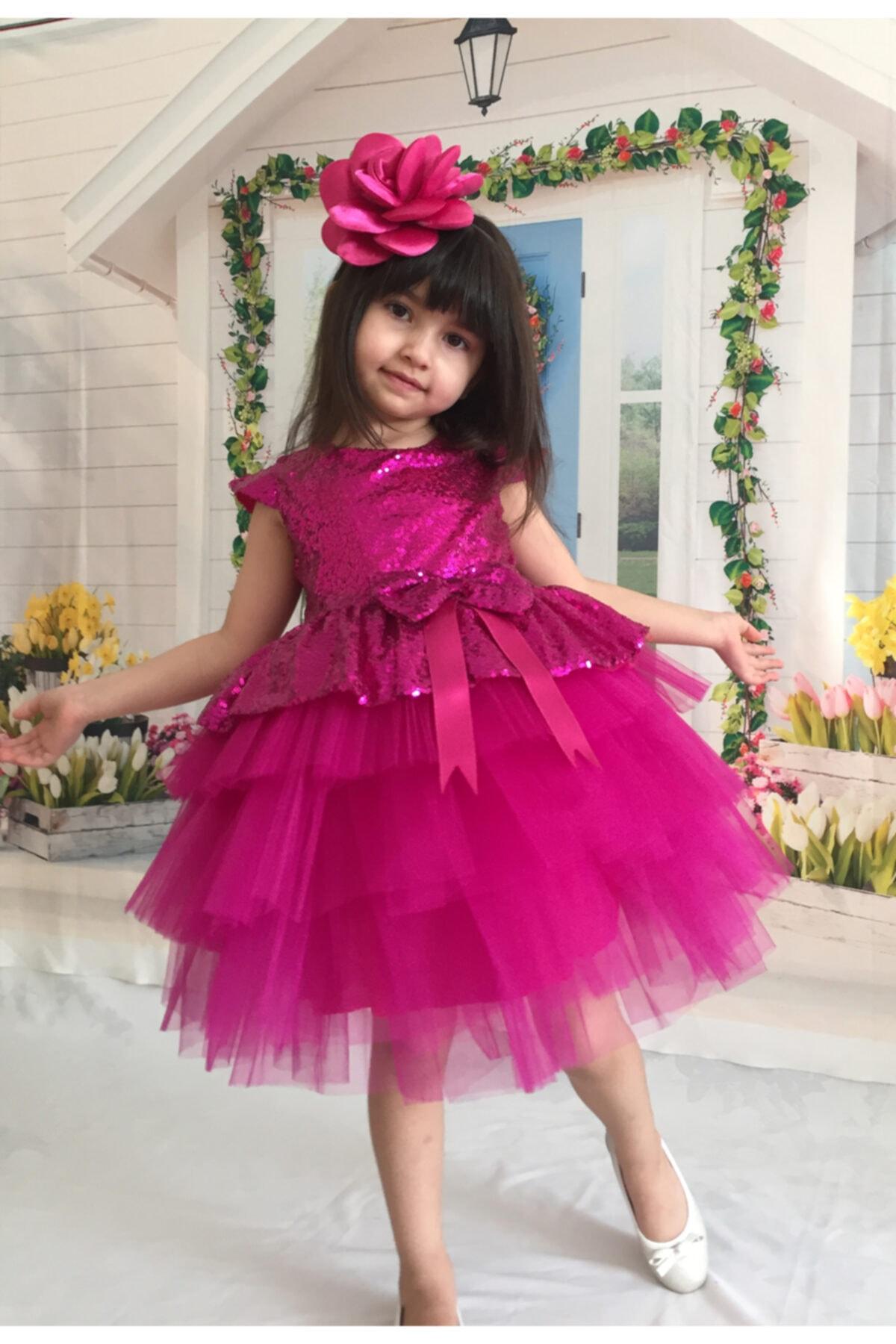 Kız Çocuk Fuşya Tüllü Abiye Elbise