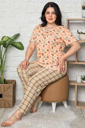 İzolli Kadın Turuncu Büyük Beden Kısa Kol Pijama Takım 1