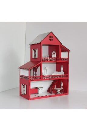 TURKAFONE Ahşap Barbi Çocuk Oyun Evi - 14 Parça Oyuncak 60cm 0