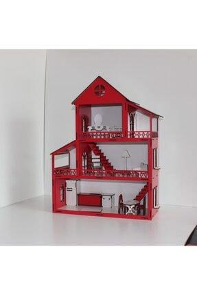 TURKAFONE Ahşap Barbi Çocuk Oyun Evi - 14 Parça Oyuncak 60cm 1