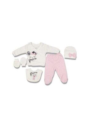 Miniworld 14460 Kız Bebek Fiyonklu Prenses 5'li Hastane Çıkışı Zıbın Set 0
