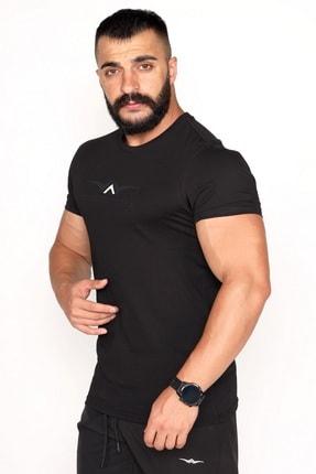 BESSA Bisiklet Yaka Süprem Kumaş Fosfor Baskı Detaylı Siyah T-shirt 1