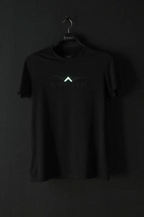 BESSA Bisiklet Yaka Süprem Kumaş Fosfor Baskı Detaylı Siyah T-shirt 4