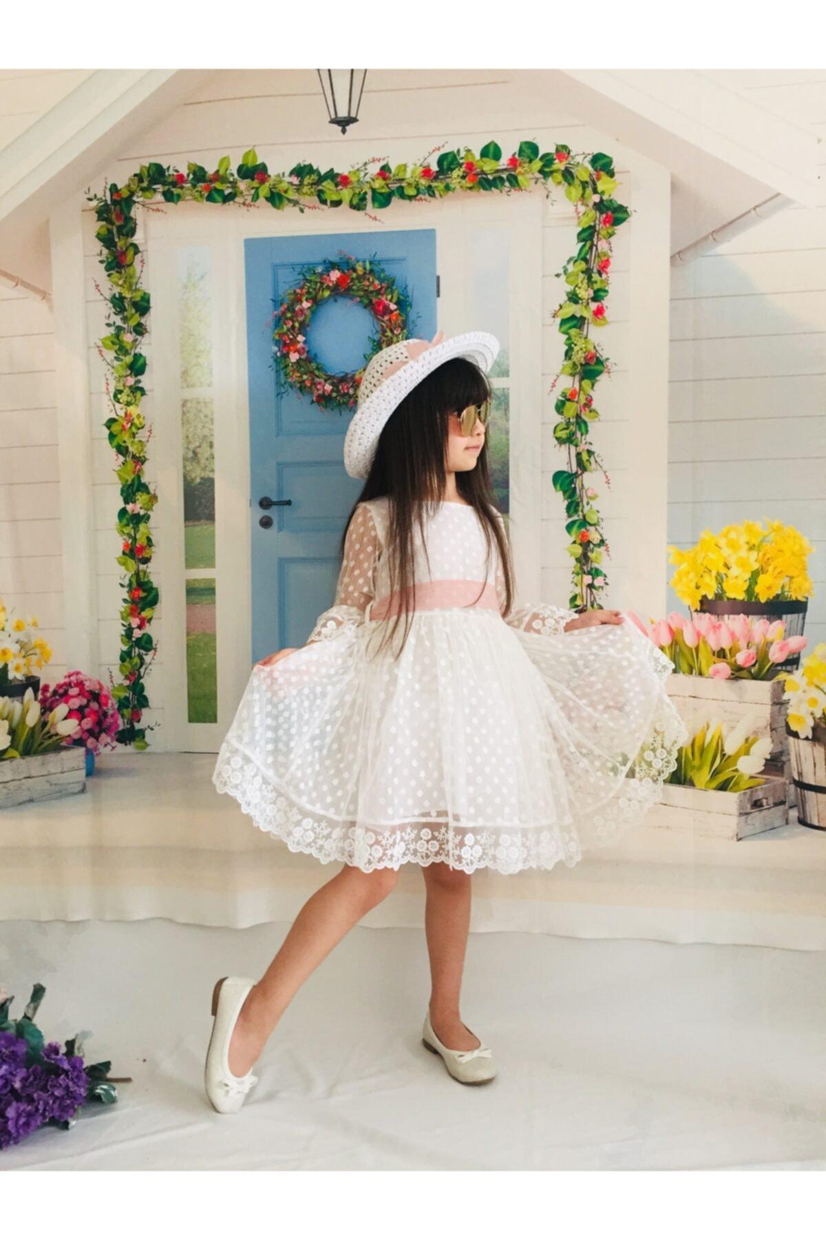 Kız Çocuk Beyaz Puanlı Dantel Güpürlü Elbise Özel Gün Doğum Günü Elbisesi