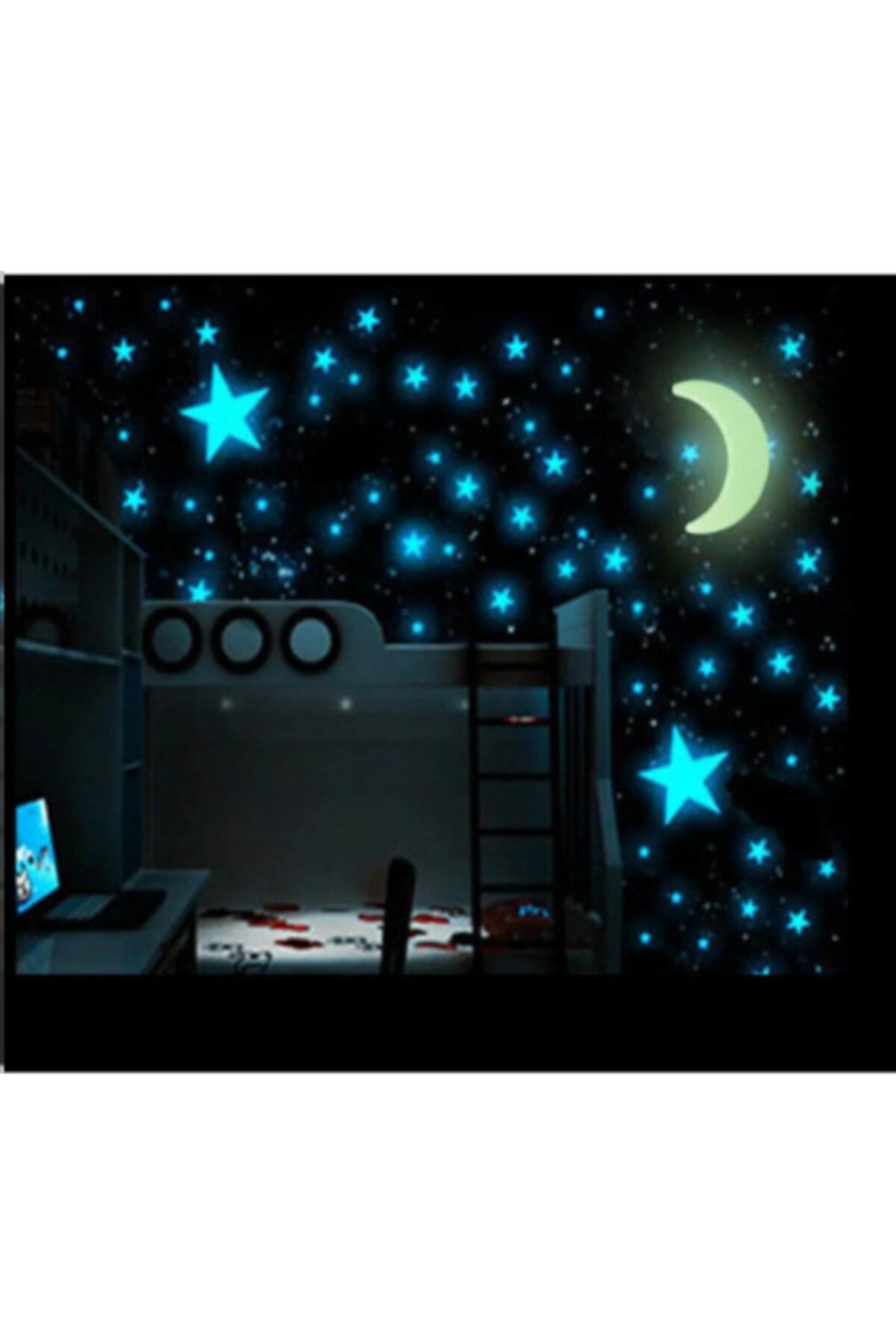 Fosforlu Yıldız 4 Cm Ve 3 Cm Çocuk Odası 80 Adet Karışık Boy 8 Adet 9 Cm Ay Dede Pvc Sticker