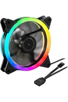 HADRON 12 cm Rgb 5 Renk Ledli Kasa Fanı - 1200 Rpm Gökkuşağı Gaming Fan 0