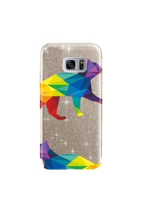 cupcase Samsung Galaxy S7 Edge Kılıf Simli Parlak Kapak Altın Gold Renk - Stok253 - Sarı Kedi 0