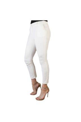 Thepantolon Düğme Detaylı Beyaz Renk Kadın Havuç Pantolon thedbp001