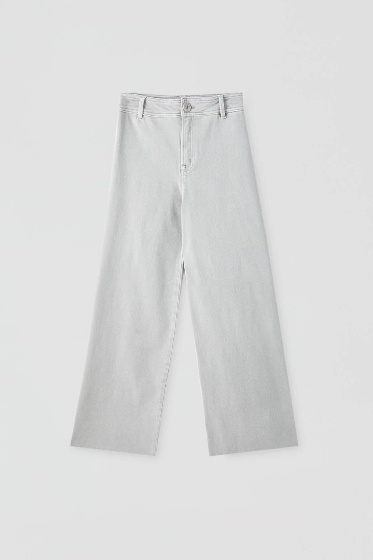 Pull & Bear Kadın Gri Yüksek Bel Crop Fit Pantolon. 09678302 2