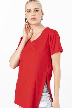 EMJEY Kadın Kırmızı İki Yanı Yırtmaçlı V Yaka T-Shirt 0