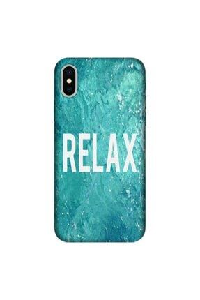 cupcase Iphone X Kılıf Resimli Esnek Silikon Kapak Relax Mermer Desenli + Temperli Cam 0