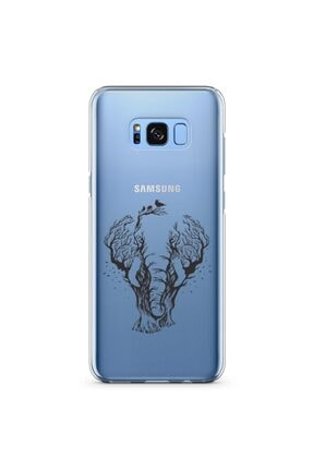Zipax Samsung Galaxy S8 Plus Kılıf Fil Ve Orman Desenli Baskılı Silikon Kilif - Mel-110206 0