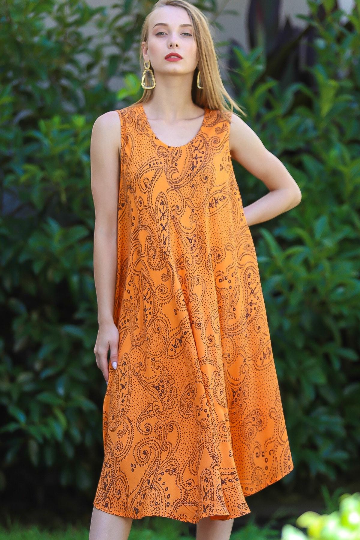 Chiccy Kadın Turuncu Bohem Şal Desen Baskılı Salaş Elbise M10160000EL96407 0