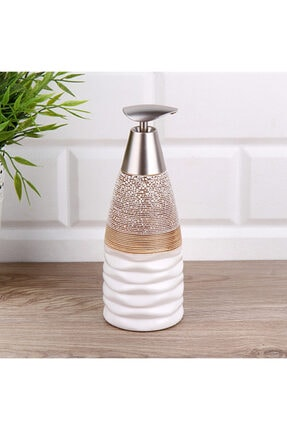 Fame Kıtchen Seramik Kahverengi - Beyaz Sıvı Sabunluk 0.50 Litre 0