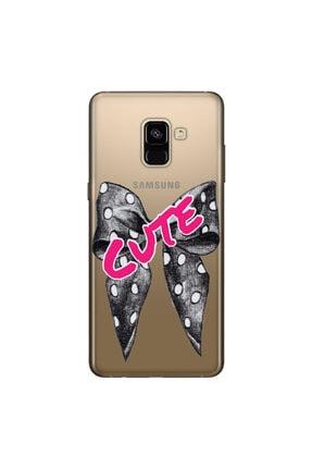 cupcase Samsung Galaxy A8 Plus 2018 Kılıf Silikon Kapak Cute Kurdele Desen + Temperli Cam 0