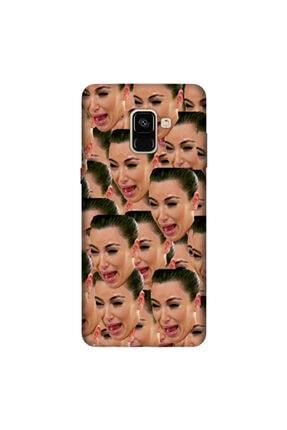 cupcase Samsung Galaxy A8 Plus 2018 Kılıf Silikon Kapak Kardashian Cry Desen + Temperli Cam 0