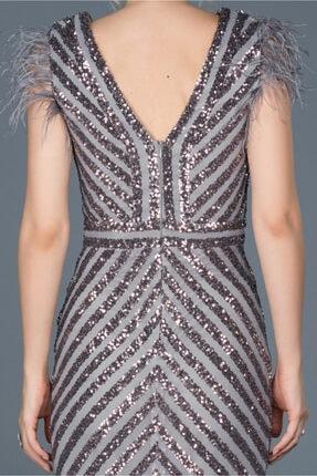 Abiyefon Kadın Antrasit Uzun Pul İşlemeli Otrişli Abiye Elbise 3