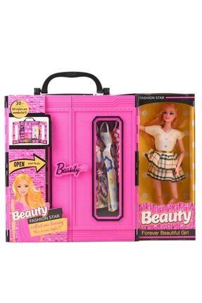 SUDEN Sonsuz Hareket Bebekli Barbie Gardrobu, Çantalı Giysi Dolabı 0