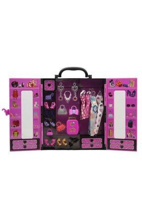 SUDEN Sonsuz Hareket Bebekli Barbie Gardrobu, Çantalı Giysi Dolabı 3